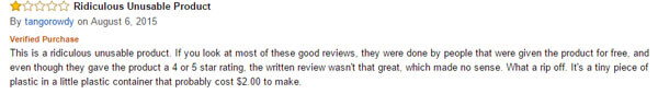 The Pacifier feedback from Amazon